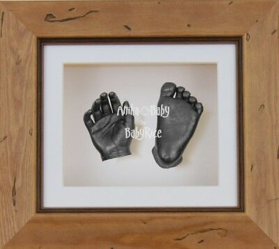 BabyRice 3D Baby Casting Kit Christening Set Wooden Rustic Frame Pewter Casts Ha
