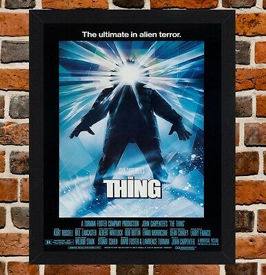 Framed The Thing Movie Poster A4 / A3 Size Mounted In Black / White Frame.