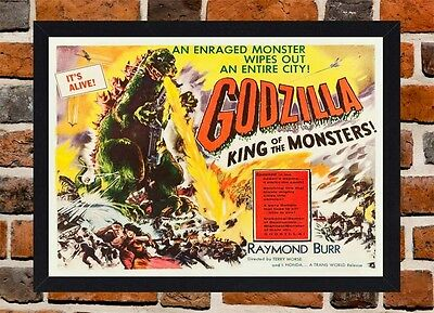 Framed Godzilla Movie Poster A4 / A3 Size Mounted In Black / White Frame