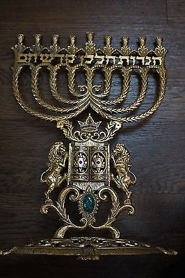 Vintage & Collectible Brass Ten Commandments Menorah By Wainberg Jerusalem