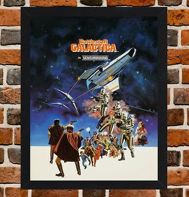 Framed Battlestar Galactica Movie Poster A4 / A3 Size In Black / White Frame