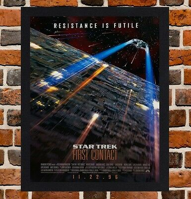 Framed Star Trek First Contact Movie Poster A4 / A3 Size In Black / White Frame