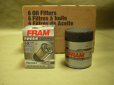 6 pack  Fram TG3682  Tough Guard Oil Filter NEW   Synthetic-Blend filters