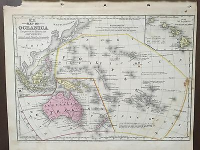 "Hand-Colored Map of Oceanica-Pacific Ocean (1855)-""Mitchell's School Atlas"""