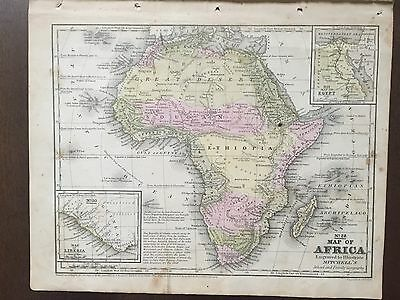 "Hand-Colored Map of Africa (1855)-""Mitchell's School Atlas"""