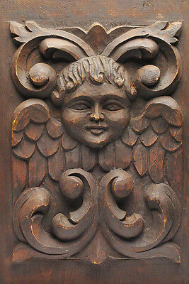 Architectural Element Gothic Wood Carved Angel Plaque - Folk Art Carving
