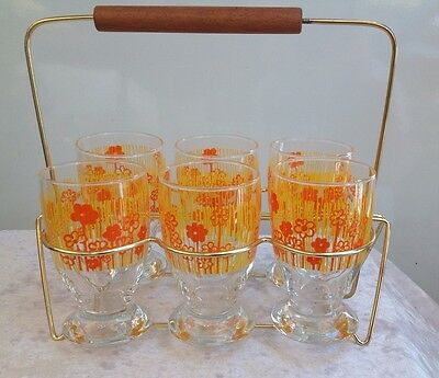 Vintage Retro Set Of Six Glasses In Gold Caddy Holder 50s 60s Bar