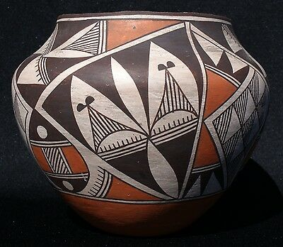 "Acoma Indian Pueblo 1940's Polychrome Pottery Jar 8"" x 6 5/8"" Ex Cond"