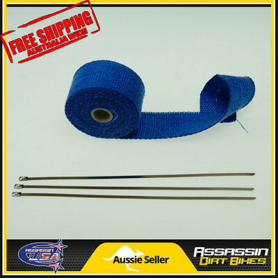 5M x 50mm BLUE Heat Wrap Shield Insulation Exhaust Manifold Pipe 3x Stainless ti