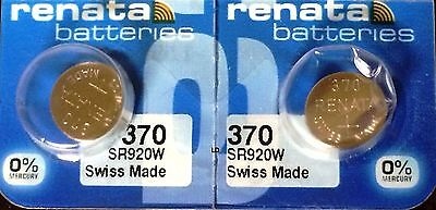 370 RENATA SR920W (2 piece) D370 Watch Battery Free Shipping Authorized Seller
