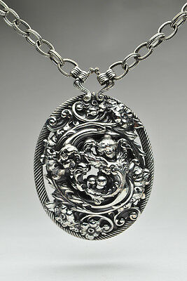 Rare Large Victorian Revival Silver Plated Napier Angel Pendant Necklace