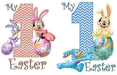 MINNIE MICKEY MOUSE BABY 1st EASTER IRON ON TSHIRT HEAT TRANSFER PHOTO LOT ME
