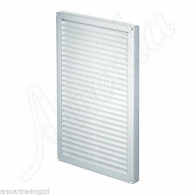 White Air Vent Grille 220mm x 340mm with Fly Screen Wall Ventilation Cover T84