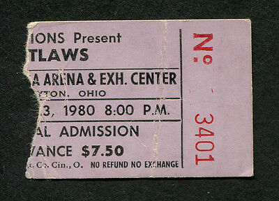 Original 1980 Outlaws concert ticket stub Dayton Hara Arena Ghost Riders