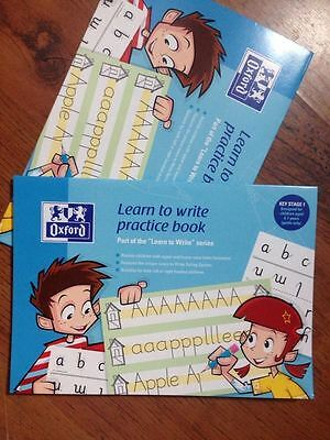 2 x School Hand writing books - oxford learn to write practice books 4-7yrs CH2