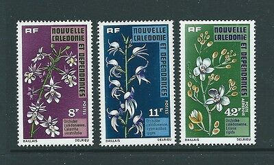 France New Caledonia 1975 Orchids Flowers Set Mnh Nice Stamps!