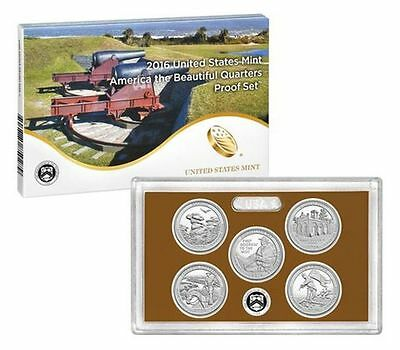 2016 S Proof America the Beautiful Quarter ATB US Mint clad 5 coin Set WITH COA