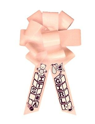 "24"" Jumbo Pink It's A Girl! Bow with Hook Baby Shower Ribbon Announcement New"