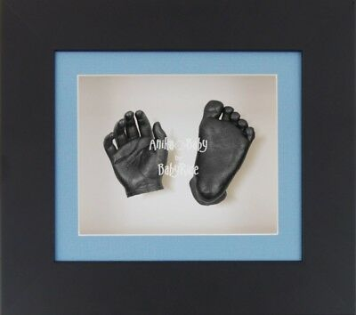 BabyRice 3D Baby Boy Casting Kit Black Box Display Frame Pewter Foot Casts