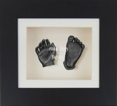 BabyRice 3D Baby Boy Girl Casting Kit Black Box Display Frame Pewter Foot Hand C