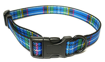 ancol Nylon Adjustable dog Collar Tartan Blue 3 sizes