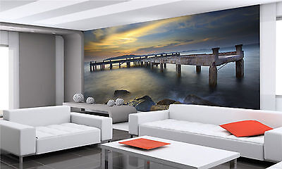 Old Ship Piers at Rock Beach Wall Mural Photo Wallpaper GIANT DECOR Paper Poster