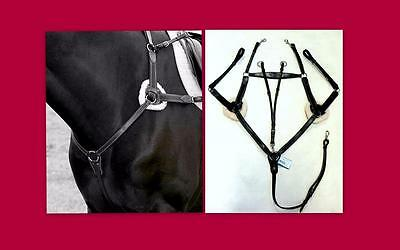 Henri de Rivel Pro 5 Point Elastic Breastplate Martingale Running At HORSE BLACK