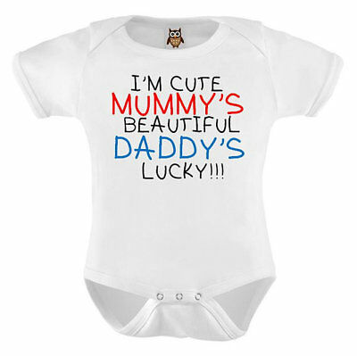Personalised Baby Vest I'm Cute Mummy's Beautiful Daddy's Lucky Funny Baby Vest