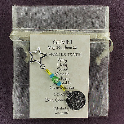 GEMINI ZODIAC CHARM Amulet Astrology Stars Sun Signs Planets Horoscope Traits