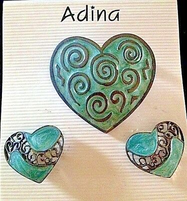 Wholesale Lot Celtic Heart Earrings + Brooch Pin Set (5)  Blue