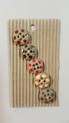 Incomparable Buttons L571 Flowers x 5 Handmade Hand Painted & Fully Washable