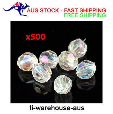 """500 x Clear Round Faceted Acrylic Crystal Spacer Beads 6mm (2/8"""") DIY JEWELLERY"""