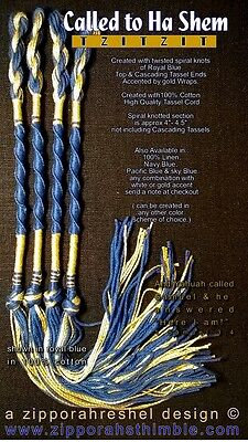 Tzitzit CALLED TO HASHEM 100%COTTON for Messianic Jewish tallit ROYAL BLUE/ GOLD