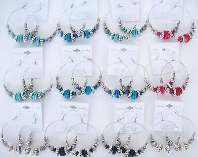 Lot Of 12 Earrings Hoop Circle Round Silver Turquoise Jewelry Blue Red White