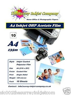 A4 Inkjet Transparency OHP Acetate film 135 micron 10 SHEETS Instant Dry Film