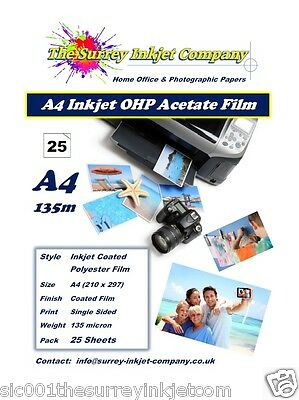 A4 Inkjet Transparency OHP Acetate Film 135 micron 25 SHEETS
