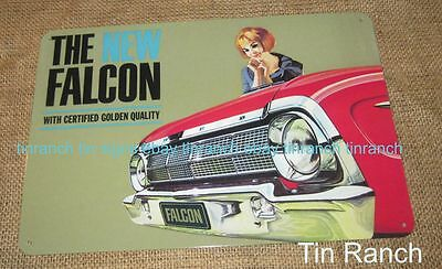 FORD FALCON TIN SIGN Classic Australian car 60s New vintage brochure XM XL XK XP