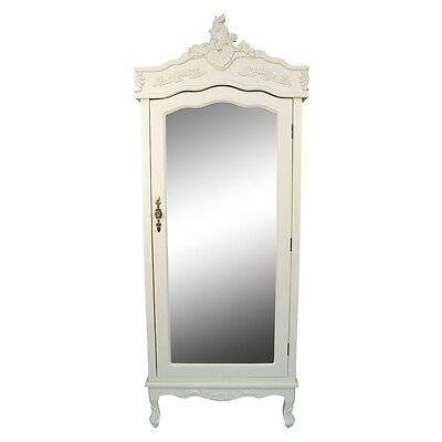 Cream French Single Wardrobe Mirrored Chateau Shabby Chic Style Mirror Armoire