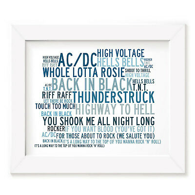 `Crystalline` AC/DC Art Print Typography Song Lyrics Signed & Numbered Poster