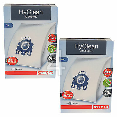 8 x Genuine Miele GN HyClean 3D Vacuum Cleaner Hoover Dust Bags & Filters