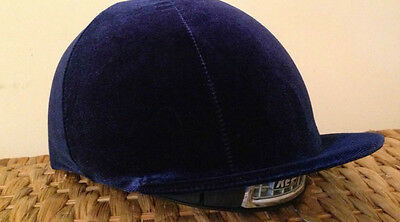 Riding Hat Silk Cover Equestrian Eventing Event Competition Velvet Velour Navy