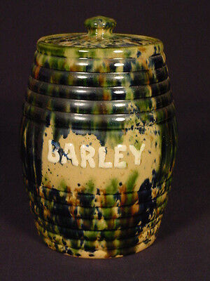 VERY RARE c. 1860 BARLEY CANISTER WITH LID & TRI-COLOR SPATTER GLAZE YELLOW WARE