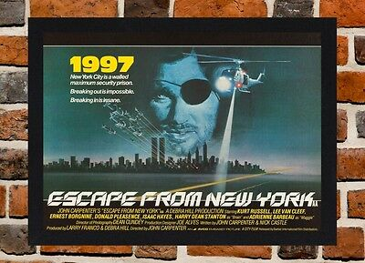 Framed Escape From New York Movie Poster A4 / A3 Size In Black / White Frame
