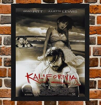 Framed Kalifornia Movie Poster A4 / A3 Size Mounted In Black / White Frame