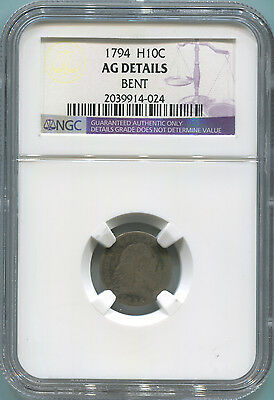 1794 Draped Bust Half Dime. NGC AG Details.