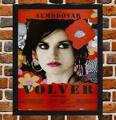 Framed Volver Spanish Movie Poster A4 / A3 Size In Black / White Frame