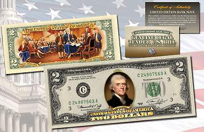 1976 Bicentennial TWO DOLLAR $2 Bill Uncirculated Currency COLORIZED 2-SIDED