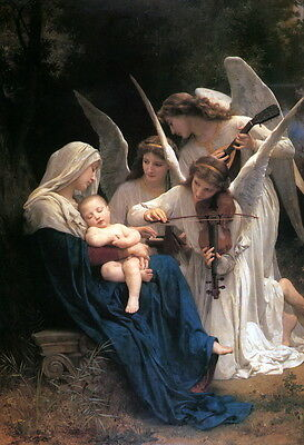"Song Of Angels For Baby Jesus Painting Large 12"" x 17.5"" Real Canvas Art Print"