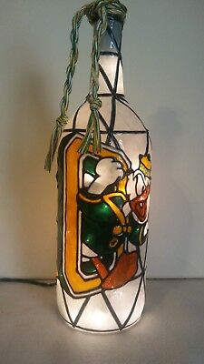 Oregon Ducks Inspiered Hand Painted Lighted Wine Bottle StainedGlass look