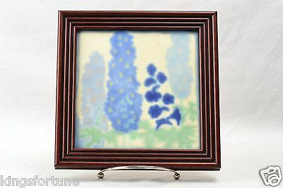 Marblehead Pottery Arts & Crafts Hand Painted Blue Flowers Tile in Frame,1908-36